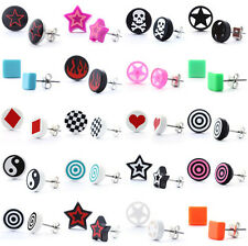 Ohrstecker Ohrringe Stecker Plug Tunnel Retro Stern Rockabilly Ska Totenkopf