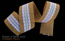 Natural Jute Burlap Hessian Laced Ribbon Trims Tape Rustic DIY Wedding Floristry