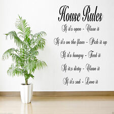 HOUSE RULES Kitchen Lounge Bedroom Hall Quote Decal Mural Transfer Sticker
