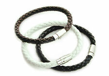 Mens Leather Bracelet Wristband 6mm Trendy Magnetic Lock Clasp