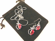 Austrian Crystal 18k White Gold Plated Apple Design Necklace & Earrings Set