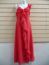 DRESS CORAL SIZE 10, 12,RUFFLED DETAIL MAXI EVENING WITH SHAWL  BNWT (A001