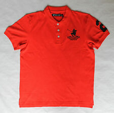 Santa Monica Mens Red/Black Pique Short Sleeve Brand New Polo Shirt - All Sizes