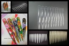 Stiletto tips very long nail art white clear natural practice display practise