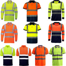 Men High Visibility Polo T Shirts Hi Viz Vis Reflective Tape Work Tee Top Light