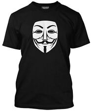 NEW V For Vendetta Guy Fawkes Anonymous Mask Mens Black T-Shirt Hackers
