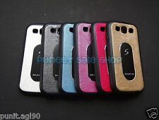 Samsung Galaxy S3 i9300 Dual Tone Soft Rubber Back Cover Case with {Metal Plate}