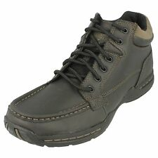 Mens Skechers 62854 Selton-Deside Black Leather Casual Lace Up Ankle Boots