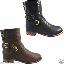 LADIES WOMENS BOOTS MILITARY ARMY COMBAT RIDING ANKLE BIKER COWBOY SHOES SIZE