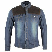 Men's Long Sleeve Western Blue Denim Shirts Slim Fit Vintage  S - L