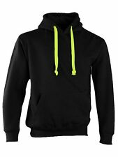 CERTIFIED INSANE BLACK HOODIE NEON YELLOW CORD CONCEALED IPOD AND PHONE POCKET
