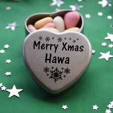 Merry Xmas Hawa Mini Heart Tin Gift Present Happy Christmas Stocking Filler