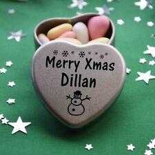 Merry Xmas Dillan Mini Heart Tin Gift Present Happy Christmas Stocking Filler