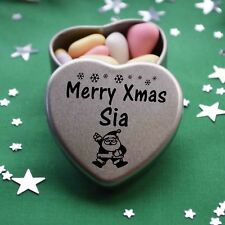 Merry Xmas Sia Mini Heart Tin Gift Present Happy Christmas Stocking Filler
