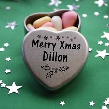Merry Xmas Dillon Mini Heart Tin Gift Present Happy Christmas Stocking Filler