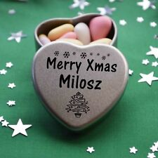 Merry Xmas Milosz Mini Heart Tin Gift Present Happy Christmas Stocking Filler