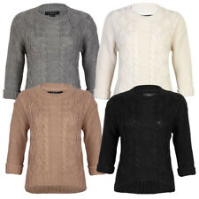Womens Amara Reya Buttercup Ladies 3/4 Sleeve Cable Knit Jumper Top Size 8-16