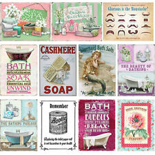 BATHROOM METAL PLAQUE VINTAGE TIN RETRO WALL SHABBY CHIC SIGN