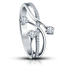 White Platinum Plated 925 Silver Brilient Cut American Diamond Three Stone Ring