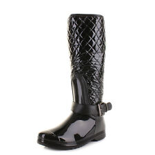 Womens Black Patent Quilted Wellington Welly Wellies Boots Ladies Size