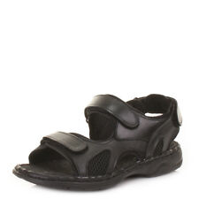 Mens Velcro Real Leather Outdoor Beach Summer Comfort Sandals Shoes Uk Size