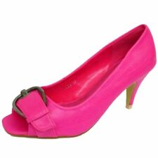 WOMENS SLIP-ON PINK BUCKLE OPEN PEEP-TOE COURT STILETTO SHOES PUMPS SIZES 3-8