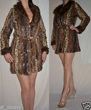 Women Fur Coat Brown Leopard Print Belted Fluffy Soft Beauty Angel Size 10 to 14