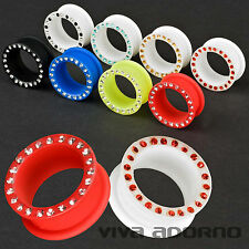 3-26mm SILICONE Flesh Tunnel Plug Cristalli Zirconi flessibile Strass Piercing