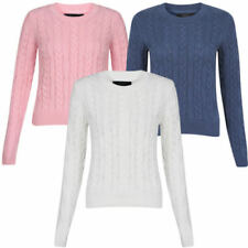 Womens Amara Reya Ladies Crew Neck Cable Knit Long Sleeve Jumper Top Size 8-16