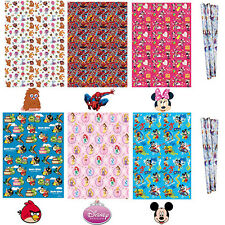 Birthday Wrapping Paper Gift Wrap Boys Girls Disney Spiderman Frozen Princess