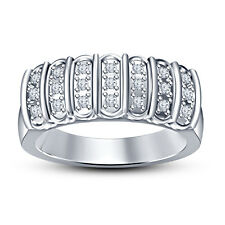 White Platinum Plated 925 Silver White RD CZ Fancy Band Ring For Men's/Women's