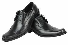 Mens Real Leather Black Work Office Casual Lace Up Classic Formal Derby Shoes