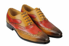 Mens Real Leather Tan Maroon Classic Brogue Lace Up Two Tone Burnished Shoes