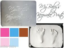 New Baby Handprint Footprint Kit Soft Clay Dough Imprints Keepsake Tin Box Gift