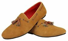 Mens Real Suede Leather Classic Tan Tassel Loafers Casual Slip On Driving Shoes