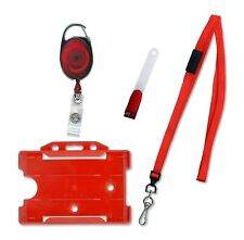 Red Premier Id Card Badge Holder Pack Free P&P