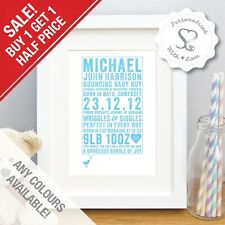 Personalised New Baby Birth Christening Boy Girl Bird Print/Framed Picture Gift