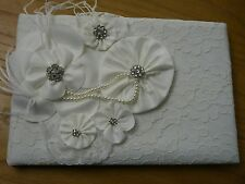 Guest Book, Ivory or White Vintage, Lace,  Wedding, Birthday, Vintage, Chic