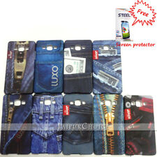 Samsung Galaxy A5 case, rubberized back cover, jeans patterns+ Free screen guard