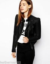 Custom-made Designer Womens Biker Genuine Lambskin Leather Jacket - Black