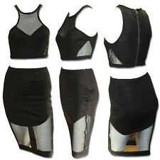 Ginger Fizz Mesh cut-out skirt & top-separately sold-co-ordinates Black GF14448