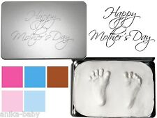 Mother's Day Gift Baby Hand and Footprint Kit Soft Clay 2D Imprints Keepsake Tin