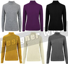 Ladies Knitted Ribbed Roll Over Neck Jumper Top Turtle Polo Stretch Casual Fit