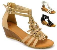 WOMENS MID WEDGE HEEL ANKLE BUCKLE STRAPPY LADIES GLADIATOR SANDALS SHOES