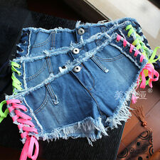 Sexy Style Low Waist Denim Women Cotton Ribbon Jeans Short Girl Pant S M L 15015