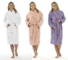 New Womens Dressing Gown Towelling COTTON robe White Lilac Pink  LN566