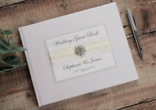 Personalised Wedding Guest Book - Elegant Vintage Jewel & Lace Design Guest Book