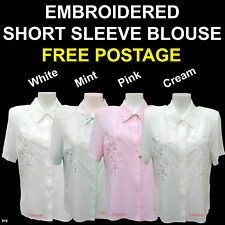 Embroidered Short Sleeve Blouse For The Older Woman Vintage Style Retro Women
