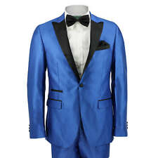Mens Electric Blue Suit Black Shawl Lapel Wedding Prom Party Slim Fit Blazer