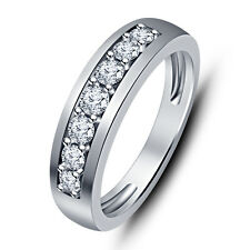 White Platinum Over 925 Silver American Diamond Graceful Band Ring For Unisex RJ